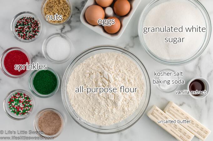 ingredients for sand tarts (cookies) overhead view