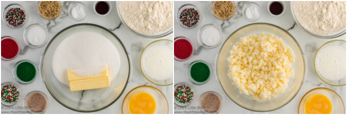 Step 2 and 3 collage of how to make sand tart cookies